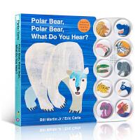 英文原版绘本 Eric Carle:Polar Bear, What Do You Hear? 北极熊,北极熊,你听到了什么?儿童纸板书发声书 聆听各种动物的叫声
