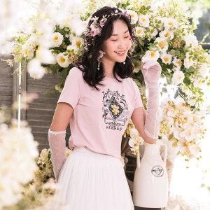 跨界艺术家联名款熙世界2019夏新款民族风印花修身短袖白色t恤女