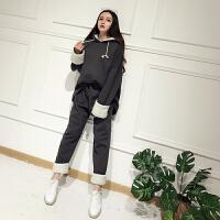 (30)时尚套装女秋冬韩版宽松学生卫衣百搭休闲裤两件套