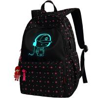 初中生书包双肩包女韩版校园夜光背包小学生五六年级书包女惊喜的文具礼物节日礼品圣诞礼物 浅紫色 大号USB款三件套