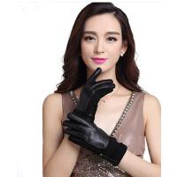 韩版保暖手套针织边加绒新款女式真皮手套反绒皮