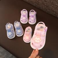 宝宝凉鞋布鞋夏男女公主鞋软底包头叫叫鞋儿童学步鞋