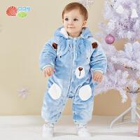贝贝怡新生儿婴儿衣服冬装新款男女宝宝夹棉加厚保暖连体衣194L291