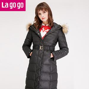 lagogo拉谷谷2016冬季新款女装冬装外套中长款羽绒服