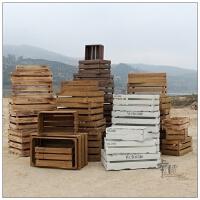 装饰木箱复古无盖收纳木箱子橱窗摆设陈列组合