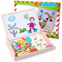 实木儿童磁性画板支架式写字板小黑板七巧板幼儿宝宝画架益智套装