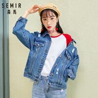 森马夹克女2018春季新款牛仔外套女装bf风韩版翻领学生上衣潮