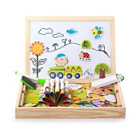 双面磁性画板儿童玩具数字形状动物农场拼拼乐拼图拼板3-5-7岁