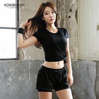 【女神特惠价】Kombucha女士速干吸汗网纱透气短袖短裤瑜珈运动健身跑步两件套装HXF33805T2