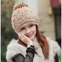 女韩版潮可爱冬季帽子兔毛帽针织毛线帽 秋冬天女士皮草帽子