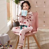 冬季姐妹儿童草莓可爱卡通睡衣秋冬季中大女童长袖全棉家居服套装秋冬新款