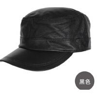 男士韩版秋冬天帽子潮真皮鸭舌帽平顶帽军帽羊皮帽棒球帽
