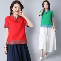 中国风短袖女装上衣 民族风夏季 棉麻中式改良复古盘扣短袖衬衫女