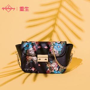 Epiphqny重生欧美时尚学院风彩色印花小方包包斜挎单肩小包