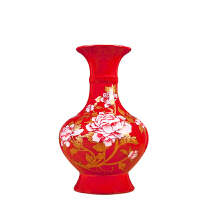 陶瓷器中国红富贵花开花瓶摆件