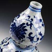陶瓷花瓶摆件仿古官窑青花瓷花瓶裂纹釉葫芦古典家居装饰品