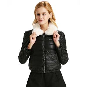 欧美女士冬装仿兰狐毛领外套雅鹿短款修身羽绒服YO30220
