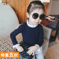 女童针织套头衫毛衣长袖2018冬装儿童韩版衬衫中大童假两件打底杉
