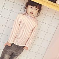 西西家 儿童条纹打底衫 2017冬季新款宝宝加绒水貂绒半高领上衣