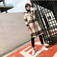 双面羊毛大衣女中长款2018新款冬季格子毛呢外套高端羊绒大衣女装