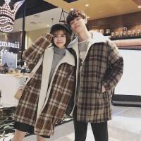 冬季bf大衣男外套羊羔毛韩版潮流格子加厚学生宽松情侣棉衣中长款