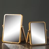 台式化妆镜镜子简约梳妆镜便携木质桌面镜可折叠高清美容