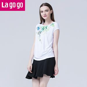 Lagogo/拉谷谷2016年夏季青春印花白色T恤