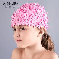 范德安儿童泳帽2018女童针织泳帽舒适花瓣防晒布游泳帽游泳装备