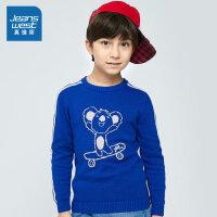 [满99减10元/满199减30元]真维斯男童 秋装新款 全棉织花圆领长袖针织衫
