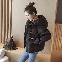 慈姑2017冬季新款棉衣外套女短款 韩版连帽学生小棉袄 学院风面包