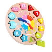 男女孩宝宝形状配对串珠积木制儿童早教立体拼图数字时钟玩具