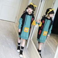 女童卫衣加绒加厚冬季中大童拼接保暖绒衫儿童抓绒连帽卫衣中长款