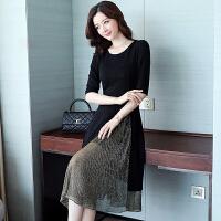 套装裙两件套新款女夏韩版修身显瘦中长款中袖雪纺连衣裙秋季