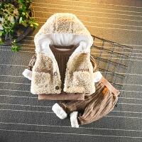宝宝加绒加厚三件套装婴儿童装秋冬季男童女童棉衣服外套韩版冬装 土金色