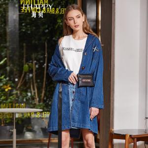 海贝2018春季新款女装 西装领长袖单排扣中长款蓝色牛仔外套风衣