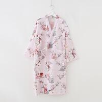 樱花兔酱。和风日式复古文艺衍缝夹棉睡衣睡袍家居服和服连衣裙