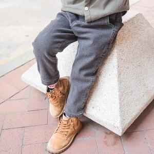 【尾品汇 满100减50】帕丁猫童装2018冬季新款男童韩版加绒牛仔裤