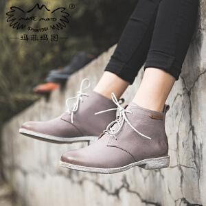 玛菲玛图小靴子女短靴2018新款短筒圆头低跟平底马丁靴学院风系带及踝靴女3301-11