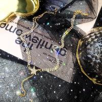 满钻星星锁骨链女短款珍珠吊坠项链简约韩国脖子饰品chocker锁骨 C233双层水晶五角星
