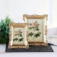 欧式美式金色树脂奢华相框 照片摆台创意时尚像框挂墙摆件 金色