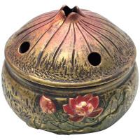 功德香炉陶瓷仿古莲花檀香盘香炉茶道家用室薰炉