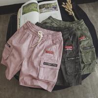 韩版复古男士夏季牛仔裤宽松直筒短裤潮流大口袋五分裤子2018新款