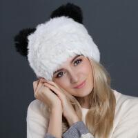 帽子女秋冬季猫耳朵毛线帽子女冬天韩版潮可爱熊猫儿童保暖针织帽