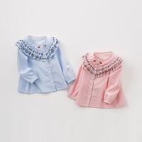 [2件3折价:86.1再领120��]戴维贝拉2019春季新款女童衬衫宝宝全棉条纹衬衣DBA9344