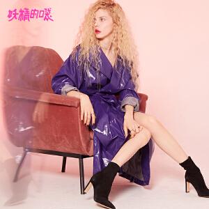 【低至1折起】妖精的口袋风衣外套秋装2018新款长袖纯色长款紫色皮质大衣女