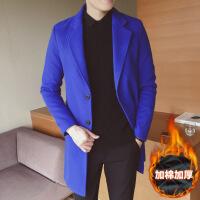 春秋季男士风衣2018新款韩版修身型中长款呢子外套男款毛呢大衣潮 加棉