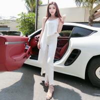 2018夏季新款韩版白富美气质珍珠不规则上衣+开叉长裤时髦套装潮