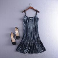C1FSLL#12秋冬季韩版V领无袖绒面吊带连衣裙Z