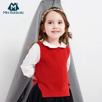 迷你巴拉巴拉女宝宝毛衣背心秋装新款针织毛衫儿童无袖宽松上衣女