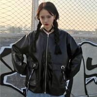 酷酷的女装帅气原宿风皮衣外套韩版学生bf宽松夹克短款秋冬季百搭